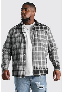 Charcoal Big And Tall Spliced Check Shirt