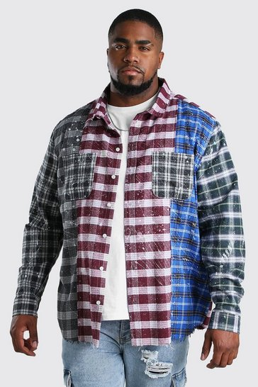 Big And Tall Multi Patchwork Check Shirt