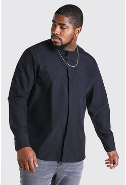 Black Big And Tall Long Sleeve Collarless Shirt