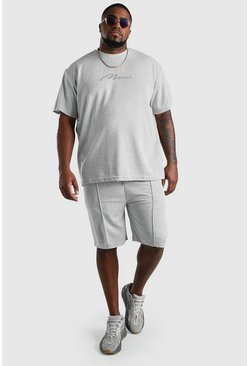 Grey Big and Tall Ribbed Jersey T-Shirt and Short Set