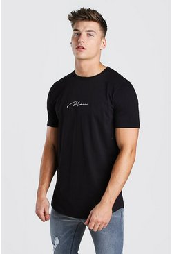 Black MAN Signature Longline Curved Hem T-Shirt