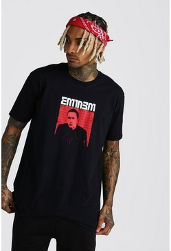 Black Oversized Eminem Photo Print License T-Shirt