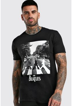 Camiseta con licencia de The Beatles Abbey Road, Negro