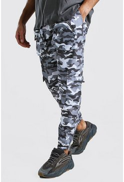Dark grey 3D Pocket Camo Cargo Pants