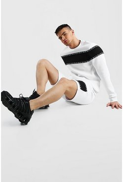 White Colour Block MAN Tape Short Sweater Tracksuit