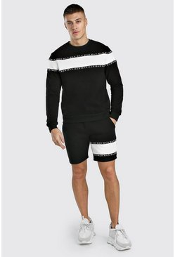 Black Colour Block MAN Tape Short Sweater Tracksuit