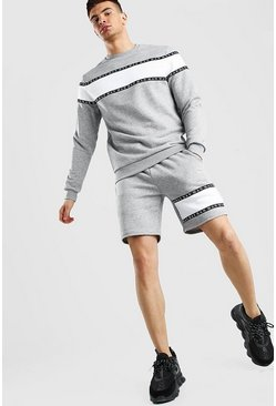 Grey marl Colour Block MAN Tape Short Sweater Tracksuit