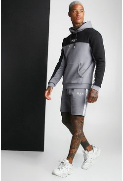 Charcoal MAN Colour Block Short Hooded Tape Tracksuit