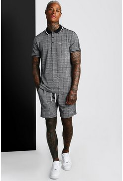 Black MAN Signature Jacquard Tape T-Shirt & Short Set