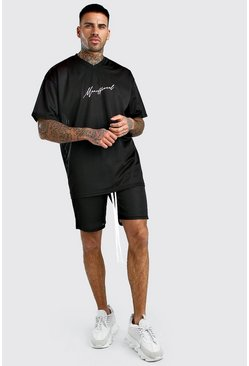 Black Official MAN Airtex T-Shirt & Short Set
