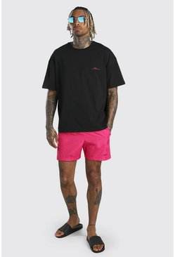 Pink MAN Signature Oversized T-Shirt & Swim Short