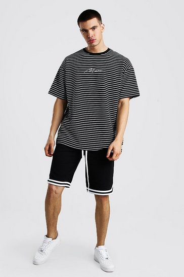 Black Hi-Lo MAN Oversized Stripe T-Shirt & Short Set