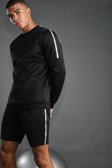 Black MAN Active Reflective Taped Short Set