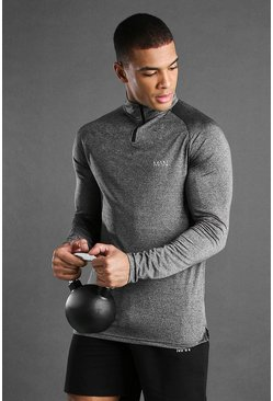 Charcoal MAN Active Raglan Skinny Fit Funnel Neck Top