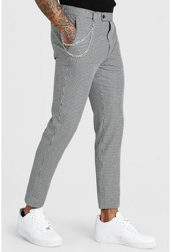 White Skinny Cropped Gingham Check Pants With Chain