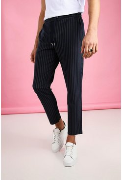 Navy Skinny Cropped Stripe Trouser