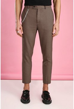 Brown Skinny Cropped Dogtooth Trouser With Chain