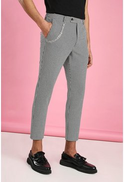 White Skinny Cropped Dogtooth Pants With Chain