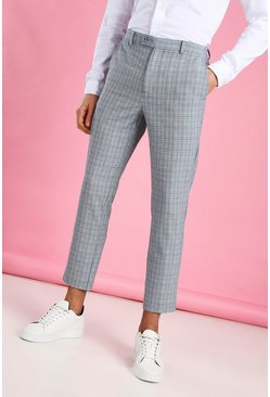 Blue Skinny Cropped Check Trouser