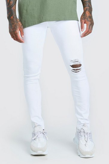 White Super Skinny Jeans With Busted Knee