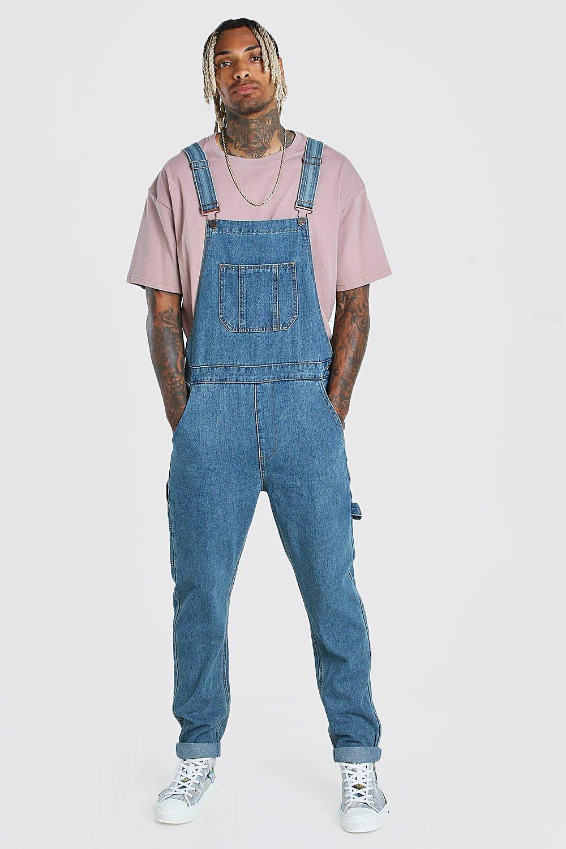 Men's Vintage Pants, Trousers, Jeans, Overalls Mens Slim Denim Overall - Blue $33.00 AT vintagedancer.com