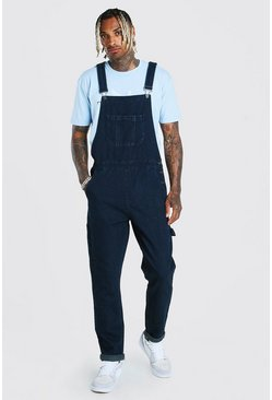 Washed indigo Slim Denim Dungaree