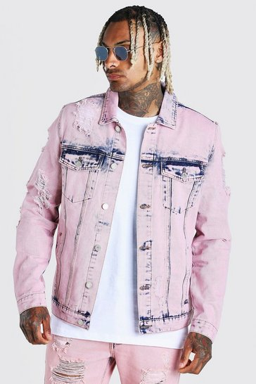 Pink Acid Wash Distressed Denim Jacket
