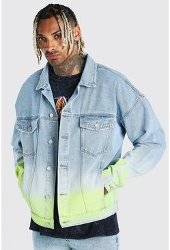 Light blue Oversized Ombre Spray Paint Denim Jacket