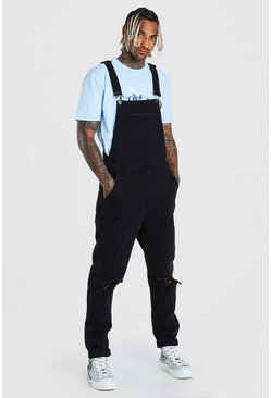 Washed black Slim Denim Dungarees With Busted Knees
