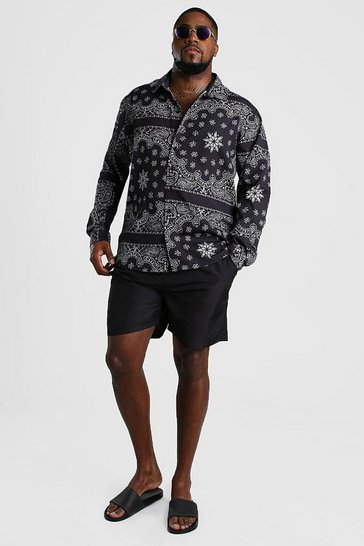 Black Big And Tall Bandana Print Hi-Lo Set