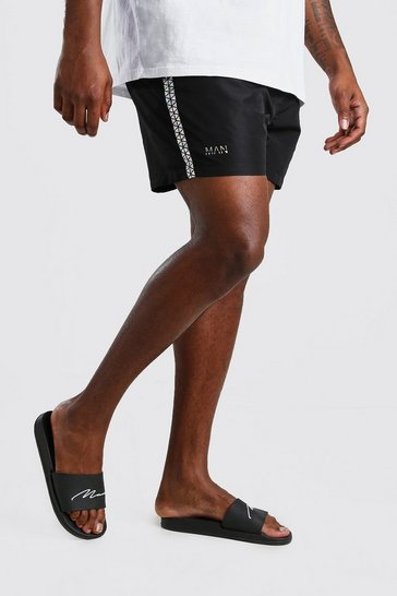 Black Big And Tall MAN Iridescent Tape Swim Short