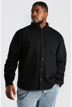 Black Big And Tall Loose Fit Cotton Shirt Jacket