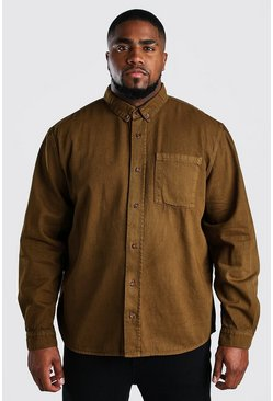 Tobacco Big And Tall Loose Fit Cotton Shirt Jacket
