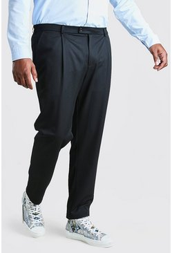 Pantalones skinny con pliegue Big and Tall, Negro