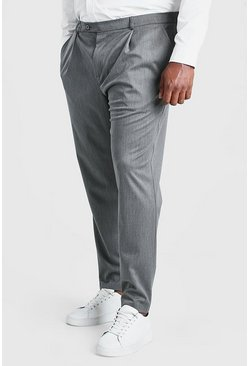 Pantalones skinny con pliegue Big and Tall, Gris marengo