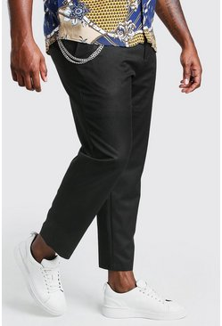 Black Big And Tall Skinny Cropped Trouser With Chain