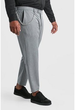 Pantalones capri skinny con cadena Big and Tall, Gris