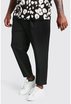 Black Big And Tall Tapered Cropped Trouser With Pleat