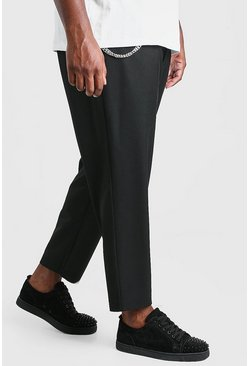 Black Big And Tall Tapered Cropped Trouser With Chain