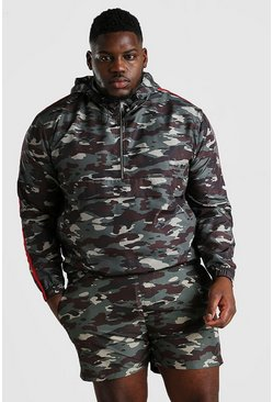 Big And Tall k-way con cappuccio con stampa camouflage, Mimetico