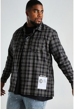 Black Big And Tall Check Shirt With Hem Print