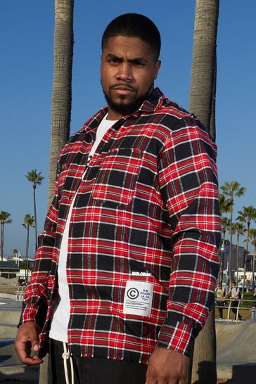 Red Big And Tall Check Shirt With L.A. Back Print
