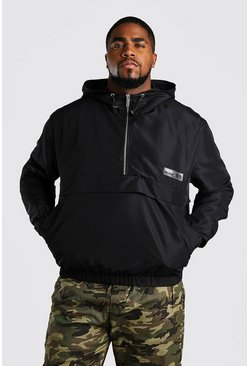 Black Big And Tall MAN Tape Harrington Cagoule