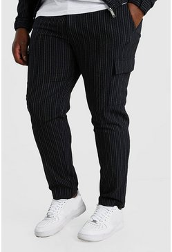 Navy Big And Tall Skinny Pinstripe Cargo Trouser