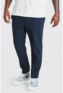Big And Tall pantaloni tuta intessuti skinny gessati, Blu oltremare