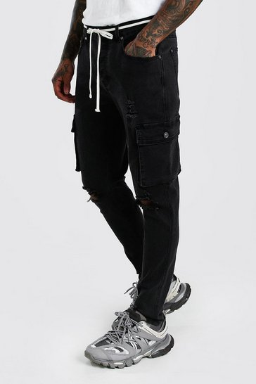 Washed black Skinny Cargo Jeans With Busted Knees