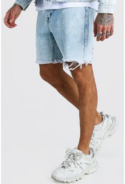 Blue Slim Fit Acid Wash Jean Short With Paint Splatter