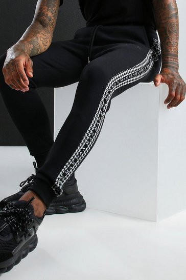 Black MAN Roman Jogger With Dogtooth Side Tape