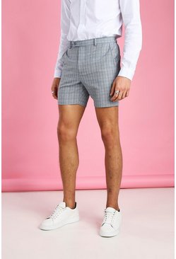 Blue Smart Skinny Check Short