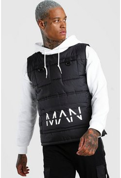 Black MAN Dash Quilted Utility Vest With Front Pockets